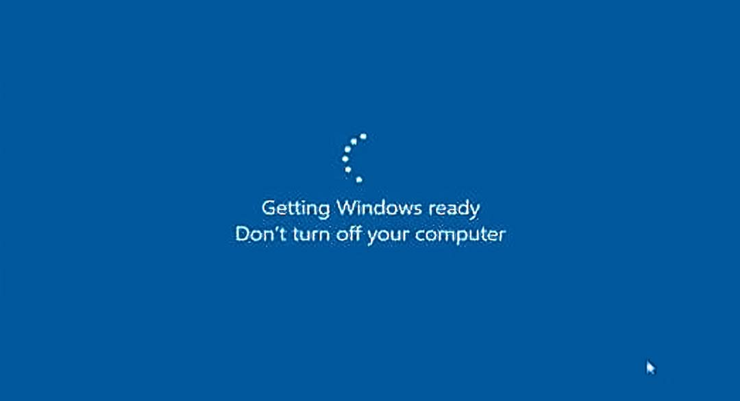windows 10 stuck at getting ready Screen