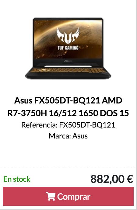 Asus FX505DT-BQ121 AMD R7-3750H 16/512 1650 DOS 15