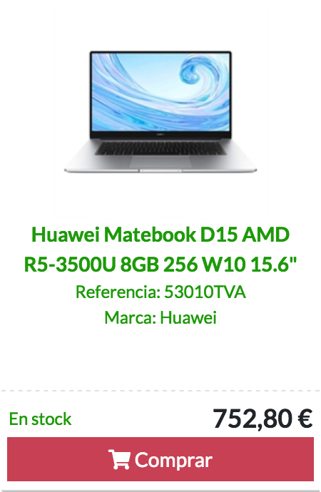 Huawei Matebook D15 AMD R5-3500U 8GB 256 W10 15.6""