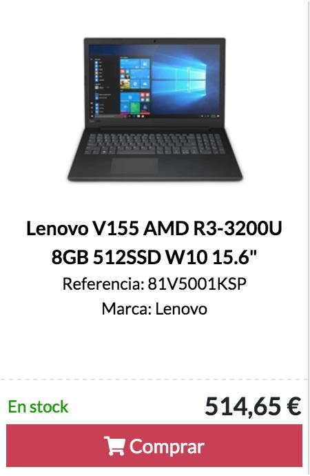 """Lenovo V155 AMD R3-3200U 8GB 512SSD W10 15.6"""""""